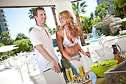 Couple At A Barbeque By The Pool