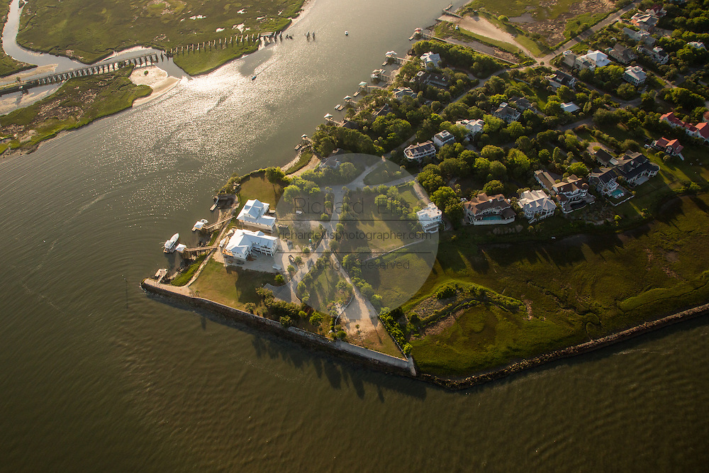 Aerial view of waterfront mansions on Sullivan's Island in Charleston, SC