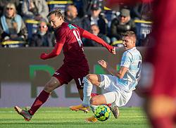 Frederik Juul Christensen (FC Helsingør) kæmper med Lasse Møberg (Skive IK) under kampen i 1. Division mellem FC Helsingør og Skive IK den 18. oktober 2020 på Helsingør Stadion (Foto: Claus Birch).