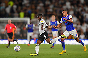 Derby County defender Fikayo Tomori (5) crosses the ball with Ipswich Town forward Kayden Jackson (9) closing to tackle during the EFL Sky Bet Championship match between Derby County and Ipswich Town at the Pride Park, Derby, England on 21 August 2018.