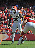 KANSAS CITY, MO - OCTOBER 27:  Linebacker D'Qwell Jackson #52 of the Cleveland Browns gets set on defense against the Kansas City Chiefs during the second half on October 27, 2013 at Arrowhead Stadium in Kansas City, Missouri.  (Photo by Peter G. Aiken/Getty Images) *** Local Caption *** D'Qwell Jackson