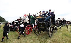 Horse drawn carriages in the car park during day two of Royal Ascot at Ascot Racecourse.