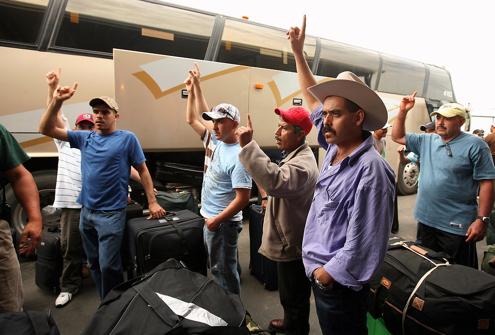 Juan Arteaga, front, joins others in raising their hands when asked who was taking the bus home to Nayarit, Mexico. Five buses took workers back to their homes all across Mexico after they worked the peach season at Titan Farms