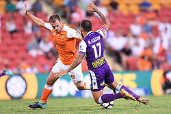 January 18, 2018 - Brisbane, QUEENSLAND, AUSTRALIA - Diego Castro of the Glory (#17, right) is fouled by Luke DeVere of the Roar (#3) during the round seventeen Hyundai A-League match between the Brisbane Roar and the Perth Glory at Suncorp Stadium on January 18, 2018 in Brisbane, Australia. (Credit Image: © Albert Perez via ZUMA Wire)