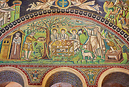 Mosaic panel depicting The sacrifice of Isaac.  Byzantine Roman mosaics of the Basilica of San Vitale in Ravenna, Italy. Mosaic decoration paid for by Emperor Justinian I in 547. A UNESCO World Heritage Site .<br /> <br /> Visit our BYZANTINE MOSAIC PHOTO COLLECTION for more   photos  to download or buy as prints https://funkystock.photoshelter.com/gallery/Byzantine-Eastern-Roman-Style-Mosaics-Pictures-Images/G0000NvKCna.AoH4/3/C0000YpKXiAHnG2k<br /> If you prefer to buy from our ALAMY PHOTO LIBRARY  Collection visit : https://www.alamy.com/portfolio/paul-williams-funkystock/basilica-san-vitale-ravenna.html