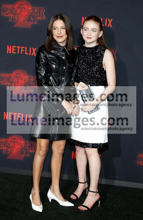 Millie Bobby Brown and Sadie Sink at the Netflix's season 2 premiere of 'Stranger Things' held at the Regency Village Theatre in Westwood, USA on October 26, 2017.