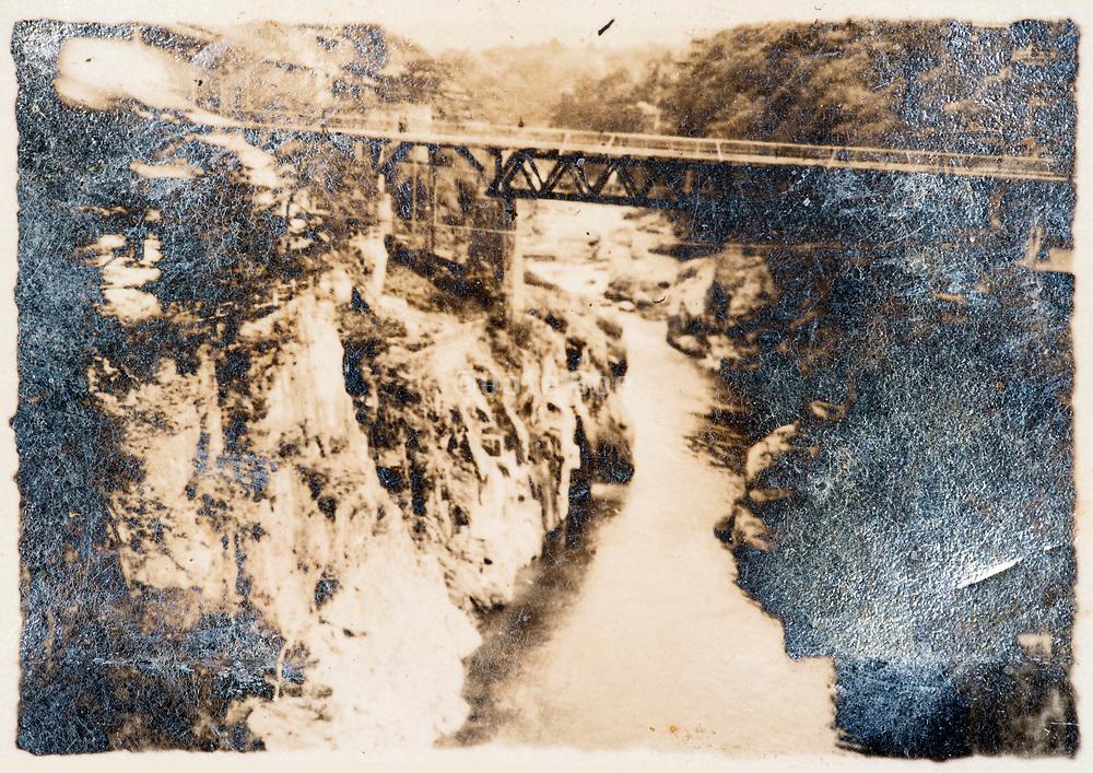 road over gorge rural Japan ca 1930s