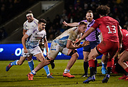 Sale Sharks No.8 Daniel Du Preez drives at the Saracens try line during a Premiership Rugby Cup Semi Final  won by Sale 28-7, Friday, Feb. 7, 2020, in Eccles, United Kingdom. (Steve Flynn/Image of Sport)