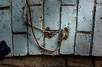 Cable TV and Internet cable feeding through  brick.