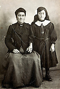 vintage portrait of mother with daughter