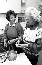 Carer & elderly woman Nottingham UK 1992