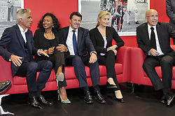 October 5, 2017 - Nice, France - Jean Pierre Rivere (president de l OGC Nice) - Laura Flessel (Ministre des sports) - Christian Estrosi (Maire de Nice, president de la metropole Nice Cote d Azur) - Nathalie Boy de la Tour (presidente de la Ligue de football professionnelle) -  Eric Ciotti  (Credit Image: © Panoramic via ZUMA Press)
