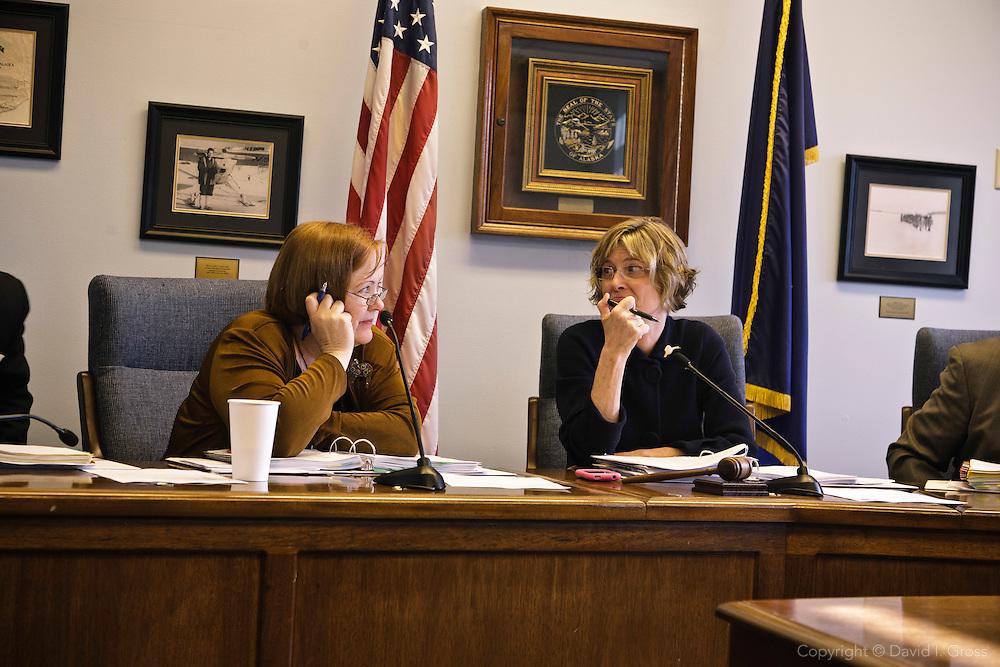 Democratic representatives Berta Gardner (left) and House Minority Leader Beth Kerttula (right) in a Democratic caucus at the Alaska State Legislature.