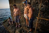 cubans snorkeling on coast