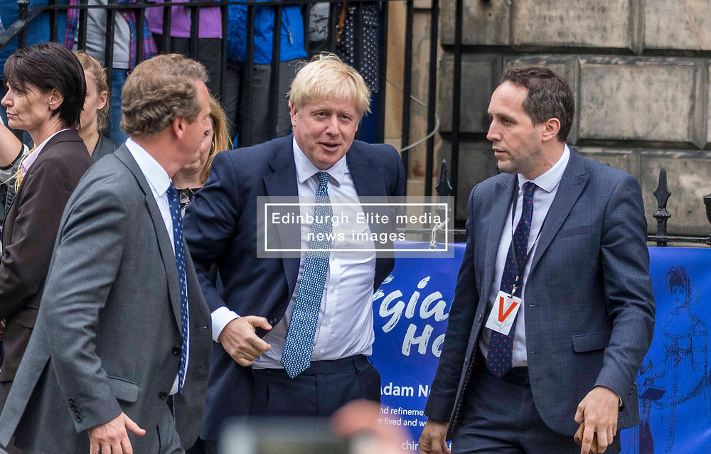 Prime Minister and Conservative Leader, Boris Johnson visits Bute House to meet First Minister of Scotland, Nicola Sturgeon. Earlier in the day, Johnson announced £300m of funding for projects to boost the economy in Scotland, Wales and Northern Ireland.<br /> <br /> Pictured: Boris Johnson arrives at  Bute House