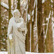 Poor Saint Peter, carrying out his mission in the snow.