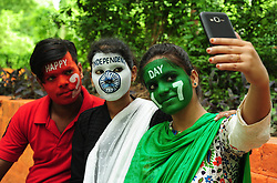 August 14, 2017 - Allahabad, Uttar Pradesh, India - Allahabad: Indian youth color their face with tricolor taking selfie on the eve of Independence Day celebration in Allahabad. (Credit Image: © Prabhat Kumar Verma via ZUMA Wire)