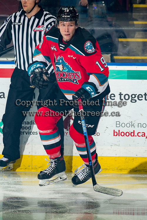 KELOWNA, BC - MARCH 11: Ethan Ernst #19 of the Kelowna Rockets skates against the Victoria Royals at Prospera Place on March 11, 2020 in Kelowna, Canada. (Photo by Marissa Baecker/Shoot the Breeze)