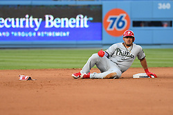 May 28, 2018 - Los Angeles, CA, U.S. - LOS ANGELES, CA - MAY 28: Philadelphia Phillies catcher Jorge Alfaro (38) slides safely into second base during a MLB game between the Philadelphia Phillies and the Los Angeles Dodgers on Memorial Day, May 28, 2018 at Dodger Stadium in Los Angeles, CA. (Photo by Brian Rothmuller/Icon Sportswire) (Credit Image: © Brian Rothmuller/Icon SMI via ZUMA Press)