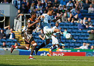 Blackburn Rovers Elliott Bennett goes past Nico Yennaris of Brentford during the EFL Sky Bet Championship match between Blackburn Rovers and Brentford at Ewood Park, Blackburn, England on 25 August 2018.