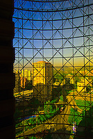 View of buildings in Santiago, Chile (from the interior of the Grand Hyatt Hotel)
