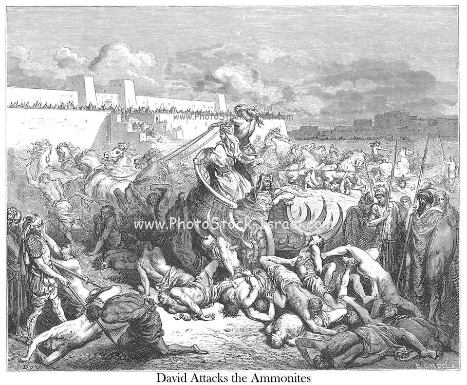 David Punishing the Ammonites [David Attacks the Ammonites] From the book 'Bible Gallery' Illustrated by Gustave Dore with Memoir of Dore and Descriptive Letter-press by Talbot W. Chambers D.D. Published by Cassell & Company Limited in London and simultaneously by Mame in Tours, France in 1866