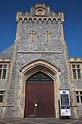 The main gate of HMP Kingston. Portsmouth, United Kingdom. Kingston prison is a category C prison holding indeterminate sentenced prisoners.