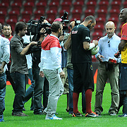 NBA basketball player Kobe BRYANT (L) and Galatasaray's goalkeeper Ufuk CEYLAN (C) seen durig their training at TT arena at Istanbul, Turkey on 25 September 2011. Photo by TURKPIX