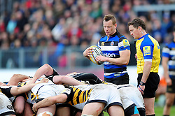 Chris Cook of Bath Rugby looks to put the ball into a scrum - Mandatory byline: Patrick Khachfe/JMP - 07966 386802 - 04/03/2017 - RUGBY UNION - The Recreation Ground - Bath, England - Bath Rugby v Wasps - Aviva Premiership.