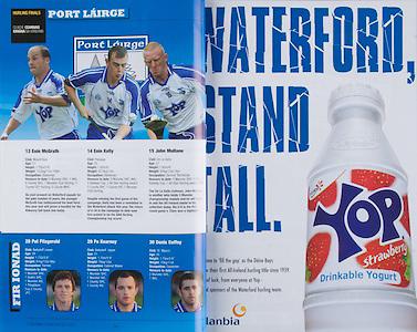 All Ireland Senior Hurling Championship Final, .07092008AISHCF,.07.09.2008, 09.07.2008, 7th September 2008,.Kilkenny 3-30, Waterford 1-13,.Minor Kilkenny 3-6, Galway 0-13,..Waterford , C Hennessy, A Kearney, D Prendergast, E Murphy, T Browne, K McGrath, K Moran, M Walsh, J Nagle, D Shanahan, S Molumphy, S Prendergast, E McGrath, J Mullane, E Kelly. Subs, S O'Sullivan for Nagle, J Kennedy for S Prendergast, P Flynn for E.McGrath, T Feeney for D Prendergast, D Bennett for Shanahan,