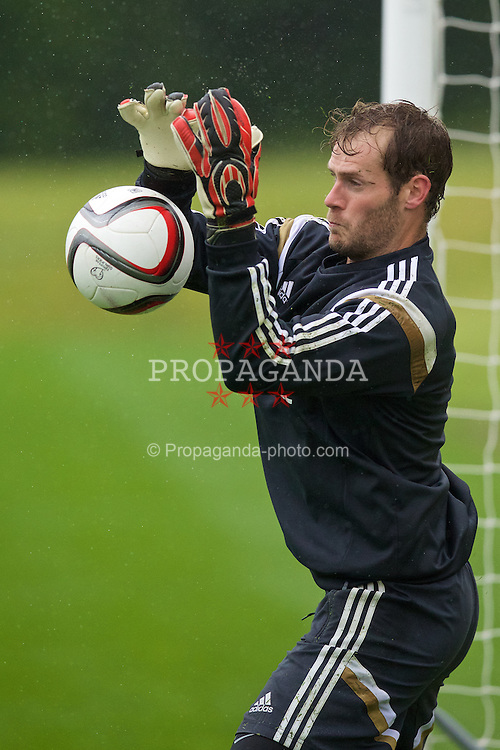 CARDIFF, WALES - Monday, June 1, 2015: Wales' goalkeeper Owain Fon Williams during a training session at the Vale of Glamorgan ahead of the UEFA Euro 2016 Qualifying Round Group B match against Belgium. (Pic by David Rawcliffe/Propaganda)