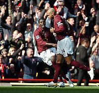 Photo: Ed Godden.<br />Arsenal v Aston Villa. The Barclays Premiership. 01/04/2006. Thierry Henry (R) celebrates his goal for Arsenal.