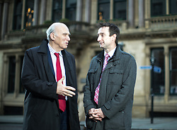 © Licensed to London News Pictures. 15/03/2018. Manchester, UK. Liberal Democrat leader SIR VINCE CABLE and the only non-Labour member of Manchester City Council, JOHN LEECH after hosting a question on answer session with media on housing, outside the former Reform Club in Manchester City Centre . It's been reported that none of the 14,667 homes in big developments granted planning permission in the city over the last two years are set to be affordable homes. Photo credit: Joel Goodman/LNP