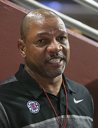 October 10, 2017 - Los Angeles, California, U.S - Coach, Doc Rivers of the Los Angeles Clippers speaks to the media during their Free Open Practice for fans held on Tuesday October 10, 2017 at the Galen Center in USC in Los Angeles, California. (Credit Image: © Prensa Internacional via ZUMA Wire)