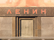 Entrance to Lenin's Mausoleum, Red Square, Moscow, Russia.