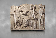 Roman relief sculpture of the Marriage of Zeus and Leto Hieros Gamos. Roman 2nd century AD, Hierapolis Theatre.. Hierapolis Archaeology Museum, Turkey .<br /> <br /> If you prefer to buy from our ALAMY STOCK LIBRARY page at https://www.alamy.com/portfolio/paul-williams-funkystock/greco-roman-sculptures.html- Type - Hierapolis - into LOWER SEARCH WITHIN GALLERY box - Refine search by adding a subject, place, background colour, museum etc.<br /> <br /> Visit our CLASSICAL WORLD HISTORIC SITES PHOTO COLLECTIONS for more photos to download or buy as wall art prints https://funkystock.photoshelter.com/gallery-collection/The-Romans-Art-Artefacts-Antiquities-Historic-Sites-Pictures-Images/C0000r2uLJJo9_s0c