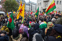 London, UK. 13 October, 2019. Kurdish supporters of the YPG rally outside the BBC in protest against Turkey's invasion of Kurdish-held territory in north-eastern Syria.