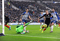 Football - 2019 / 2020 Premier League - Brighton & Hove Albion vs. Chelsea<br /> <br /> Brighton goalkeeper saves from the feet of Mason Mount, at The Amex.<br /> <br /> COLORSPORT/ANDREW COWIE