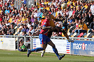 Dagenham's Matt Partridge challenges for the ball with Newport's David Tutonda. Skybet football league two match , Newport county v Dagenham & Redbridge at Rodney Parade in Newport, South Wales on Saturday 18th April 2015.<br /> pic by David Richards, Andrew Orchard sports photography.
