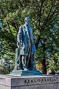Ezra Cornell statue on the campus or Cornell University, Ithaca, New York, USA