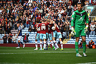 Michael Keane of Burnley celebrates with his teammates after scoring his teams 1st goal. Skybet football league championship match, Burnley  v Birmingham City at Turf Moor in Burnley, Lancs on Saturday 15th August 2015.<br /> pic by Chris Stading, Andrew Orchard sports photography.