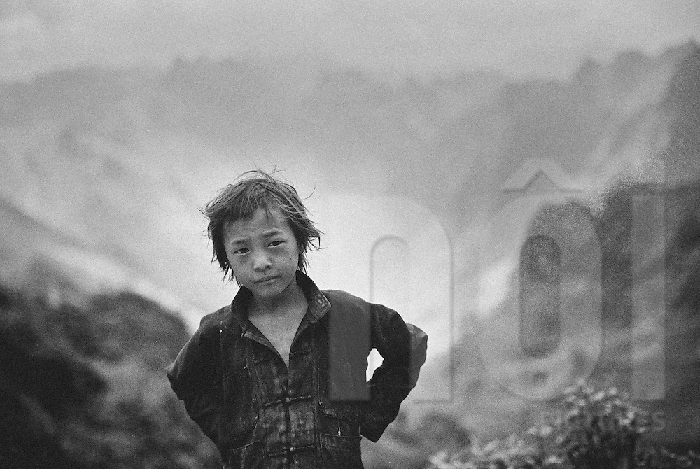 Portrait of young hilltribe boy in Ha Giang Province, Vietnam, Southeast Asia