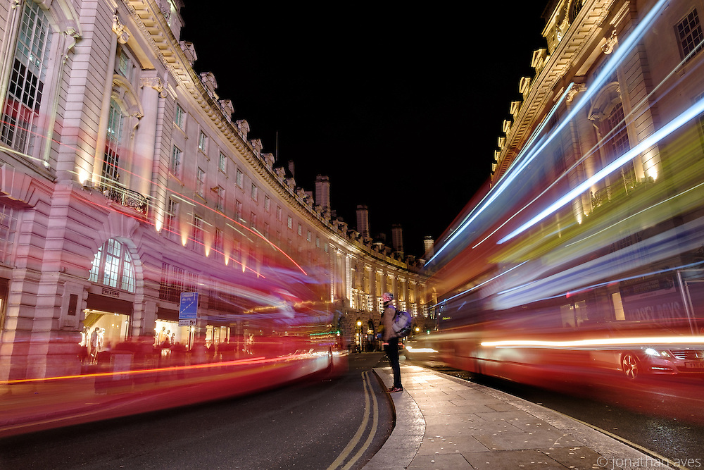 London buses at night in Regent Street.