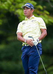 May 19, 2019 - Farmingdale, NY, U.S. - FARMINGDALE, NY - MAY 19: Hideki Matsuyama watches his tee shot on 14 during the Final Round of the 2019 PGA Championship, on the Black Course, Bethpage State Park, in Farmingdale, NY. (Photo by Joshua Sarner/Icon Sportswire) (Credit Image: © Joshua Sarner/Icon SMI via ZUMA Press)