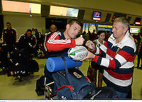 3 June 2013; Brian O'Driscoll, British & Irish Lions, signs an autograph at Perth International Airport upon the squad's arrival in Australia for the British & Irish Lions Tour 2013. Perth International Airport, Perth, Australia. Picture credit: Stephen McCarthy / SPORTSFILE