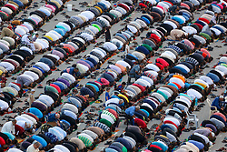 September 1, 2017 - Nuseirat, Gaza Strip, Palestinian Territory - Palestinian muslims pray on the first day of Eid al-Adha, or feast of the sacrifice, in Nuseirat in the center of Gaza strip. Muslims around the world are celebrating Eid al-Adha, the ''Feast of Sacrifice'', which marks the end of the annual pilgrimage or hajj to the Saudi holy city of Mecca and in remembrance of Abraham's readiness to sacrifice his son to God  (Credit Image: © Atia Darwish/APA Images via ZUMA Wire)