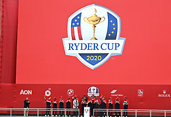 Team USA team celebrate with the Ryder Cup trophy after victory against Team Europe during the closing ceremony at the end of day three of the 43rd Ryder Cup at Whistling Straits, Wisconsin. Picture date: Sunday September 26, 2021.