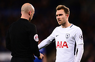 Christian Eriksen of Tottenham Hotspur complains to the referee .Premier league match, Leicester City v Tottenham Hotspur at the King Power Stadium in Leicester, Leicestershire on Tuesday 28th November 2017.<br /> pic by Bradley Collyer, Andrew Orchard sports photography.