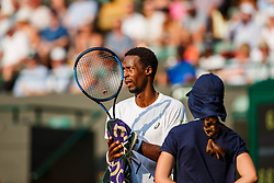 July 9, 2018 - London, England, U.S. - LONDON, ENG - JULY 09: GAEL MONFILS (FRA) during day seven match of the 2018 Wimbledon on July 9, 2018, at All England Lawn Tennis and Croquet Club in London,England. (Photo by Chaz Niell/Icon Sportswire) (Credit Image: © Chaz Niell/Icon SMI via ZUMA Press)