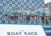 Putney, London, Varsity Boat Race, 07/04/2019, CUWBC, celebrate winning the 2019 Oxford V Cambridge, Women's Race, Championship Course,<br /> [Mandatory Credit: Patrick WHITE], Sunday,  07/04/2019,  3:45:31 pm, Crew:  Trica SMITH, <br /> Sophie DEANS,<br /> Laura FOSTER, <br /> Larkin SAYRE, <br /> Kate HORVAT, <br /> Pippa WHITTAKER, <br /> Ida Gerte JACOBSEN, <br /> Lily LINDSAY<br /> Cox, Hugh SPAUGHTON